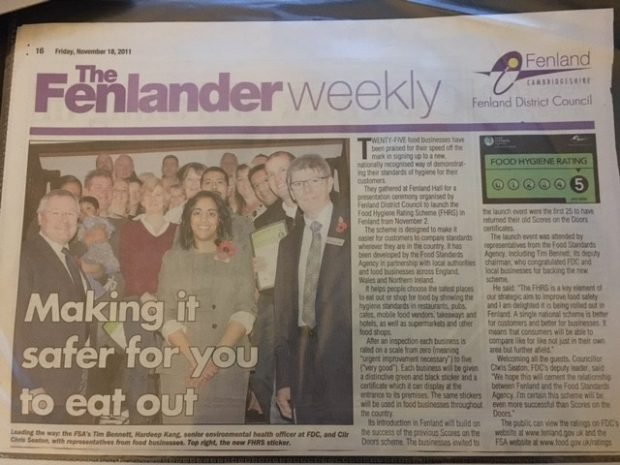 "A newspaper cutting of Hardeep Kang in the Fenlander Weekly ""Making it safer for you to eat out"""