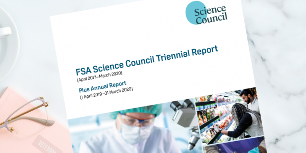 Decorative only - front cover of the FSA Science Council Triennial report on a marble table top